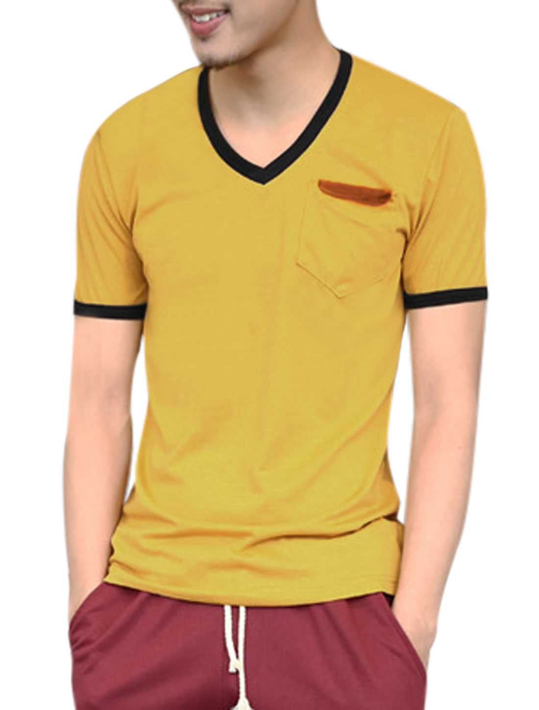 Men Single Breast Pocket Panel Design Cozy Fit Tee Yellow M