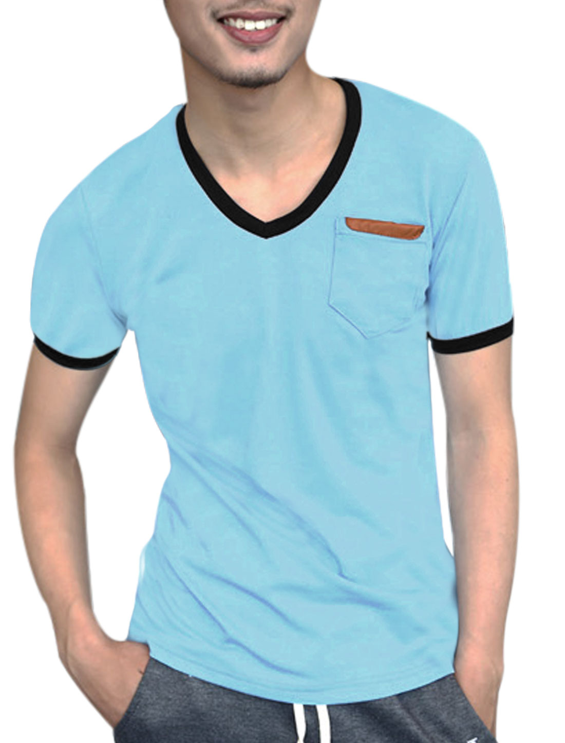 Men Single Breast Pocket Panel V Neck Slim Fit Tee Top Light Blue M