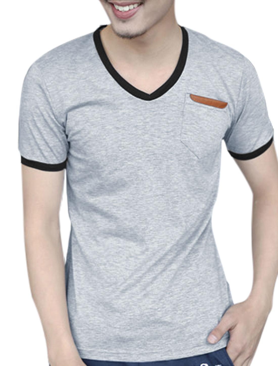 Men Summer Breast Pocket Panel Design Cozy Fit Tee Light Gray M