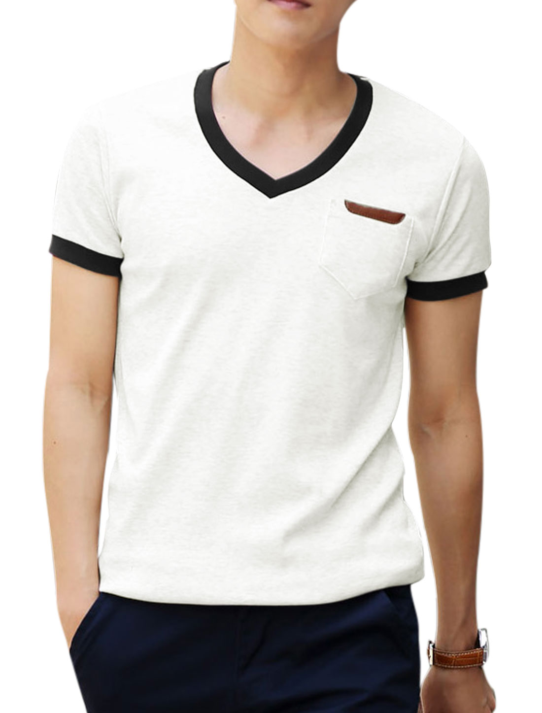 Summer Breast Pocket Panel Pullover Cozy Fit Tee for Men White M