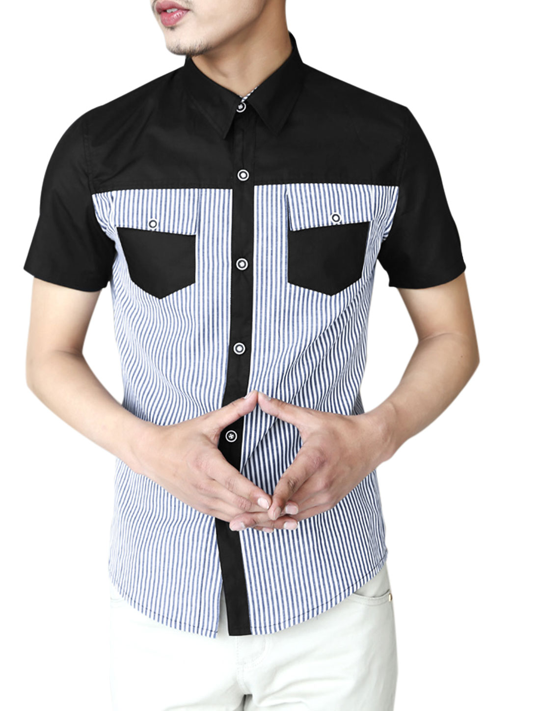 Men Short Sleeve Button Closure Front Color Block Stripes Casual Shirt Black M