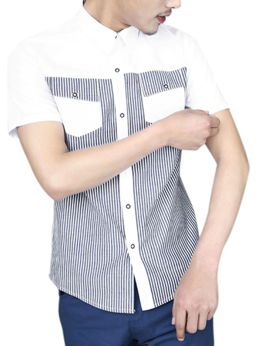 Men Vertical Stripes Contrast Color Short Sleeve Casual Shirt White M