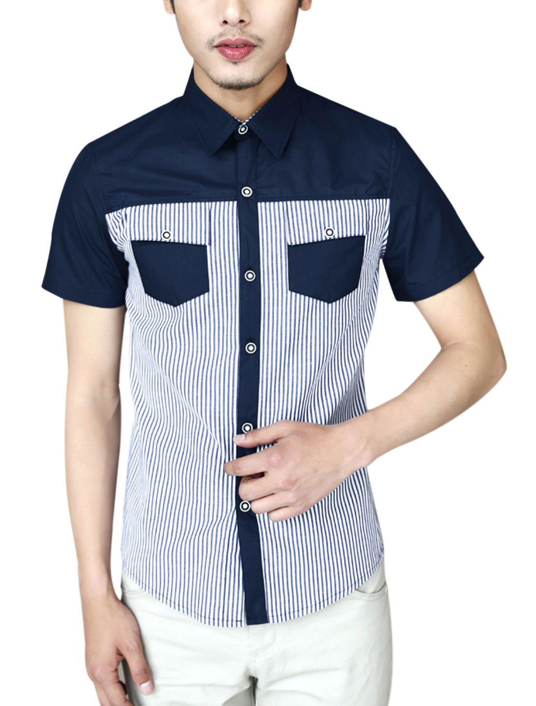 Men Point Collar Stripes Contrast Color Round Hem Shirt Navy Blue M