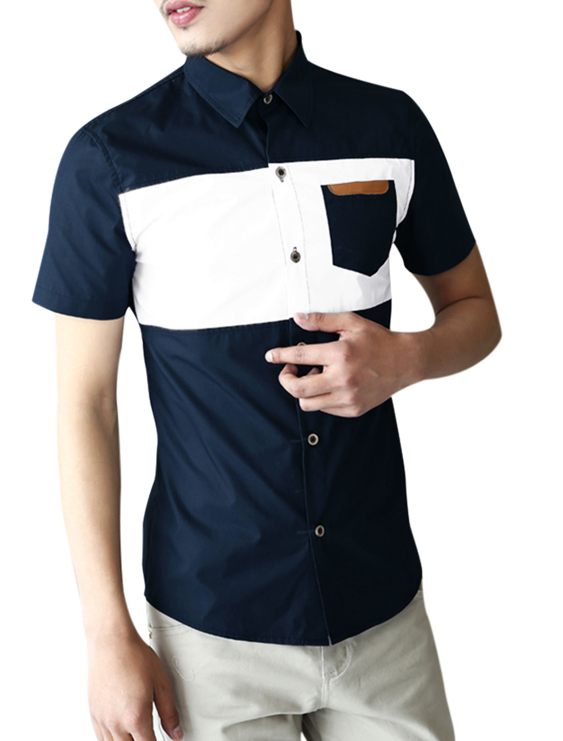 Men Short Sleeve Button Closure Front Color Block Casual Shirt Navy Blue M