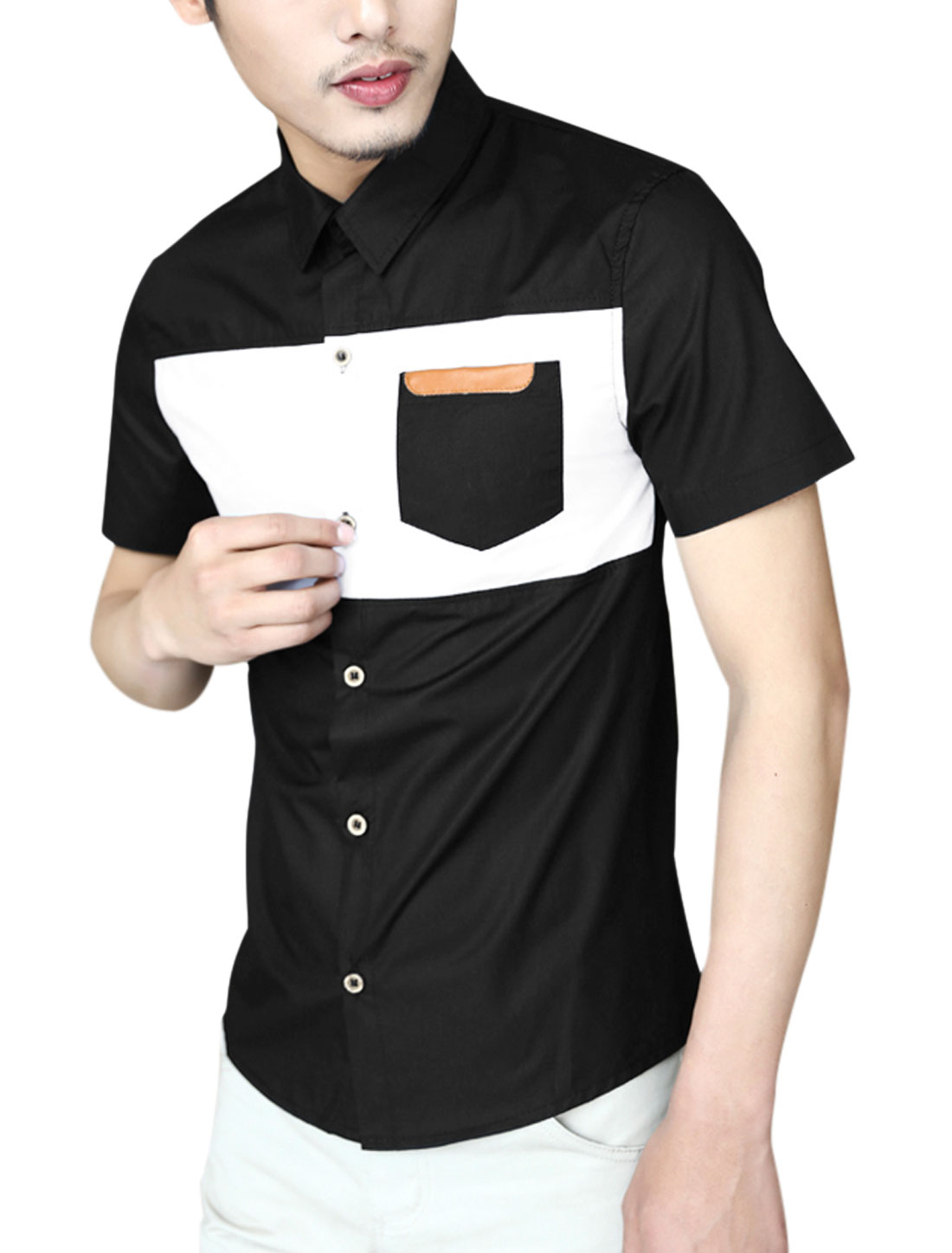 Men Contrast Color One Chest Pocket Single Breasted Shirt Black M