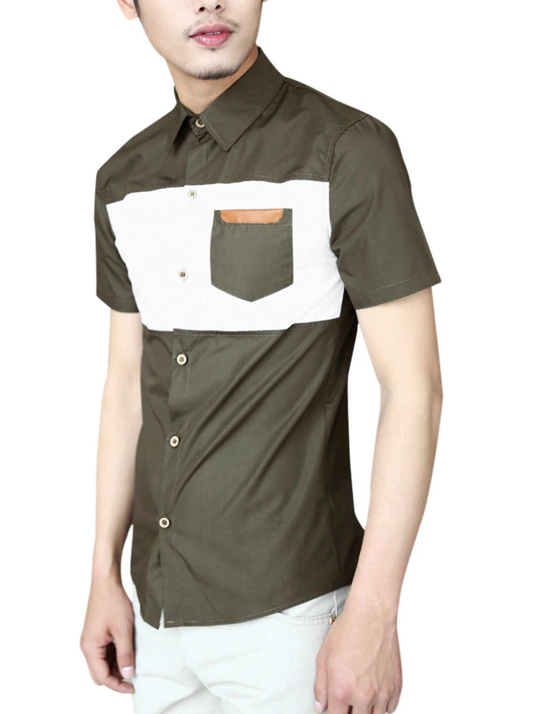 Men Color Block Round Hem Single Breasred Casual Shirt Army Green M