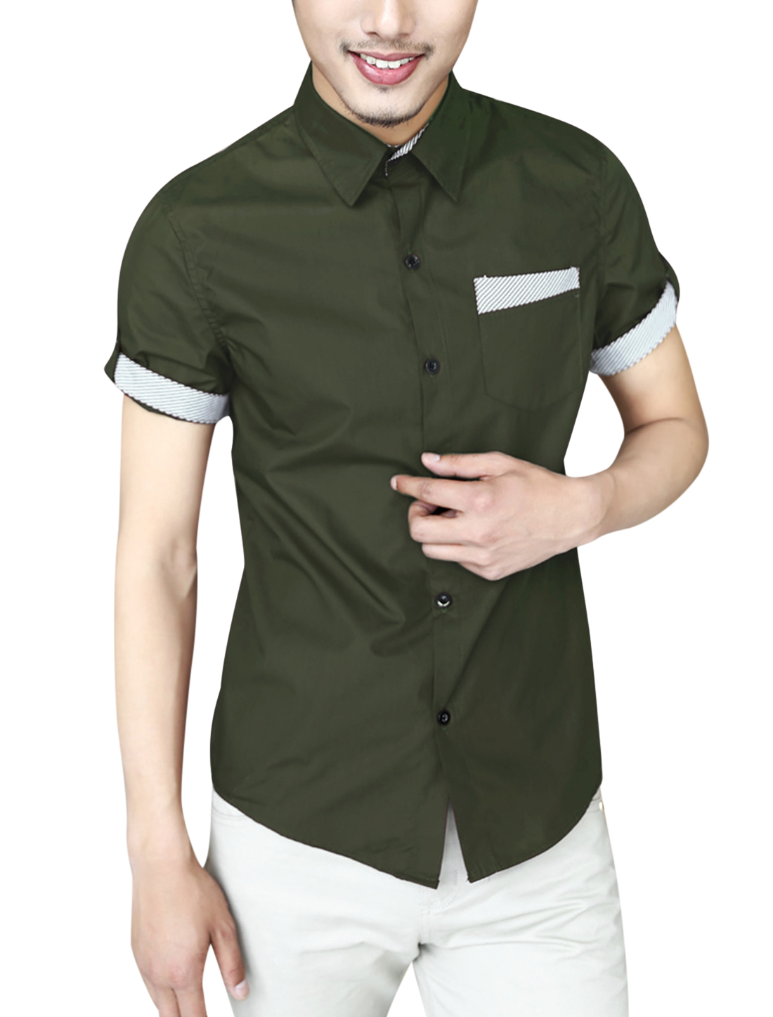Men Summer Roll Up Cuffs Single Chest Pocket Casual Shirt Army Green M