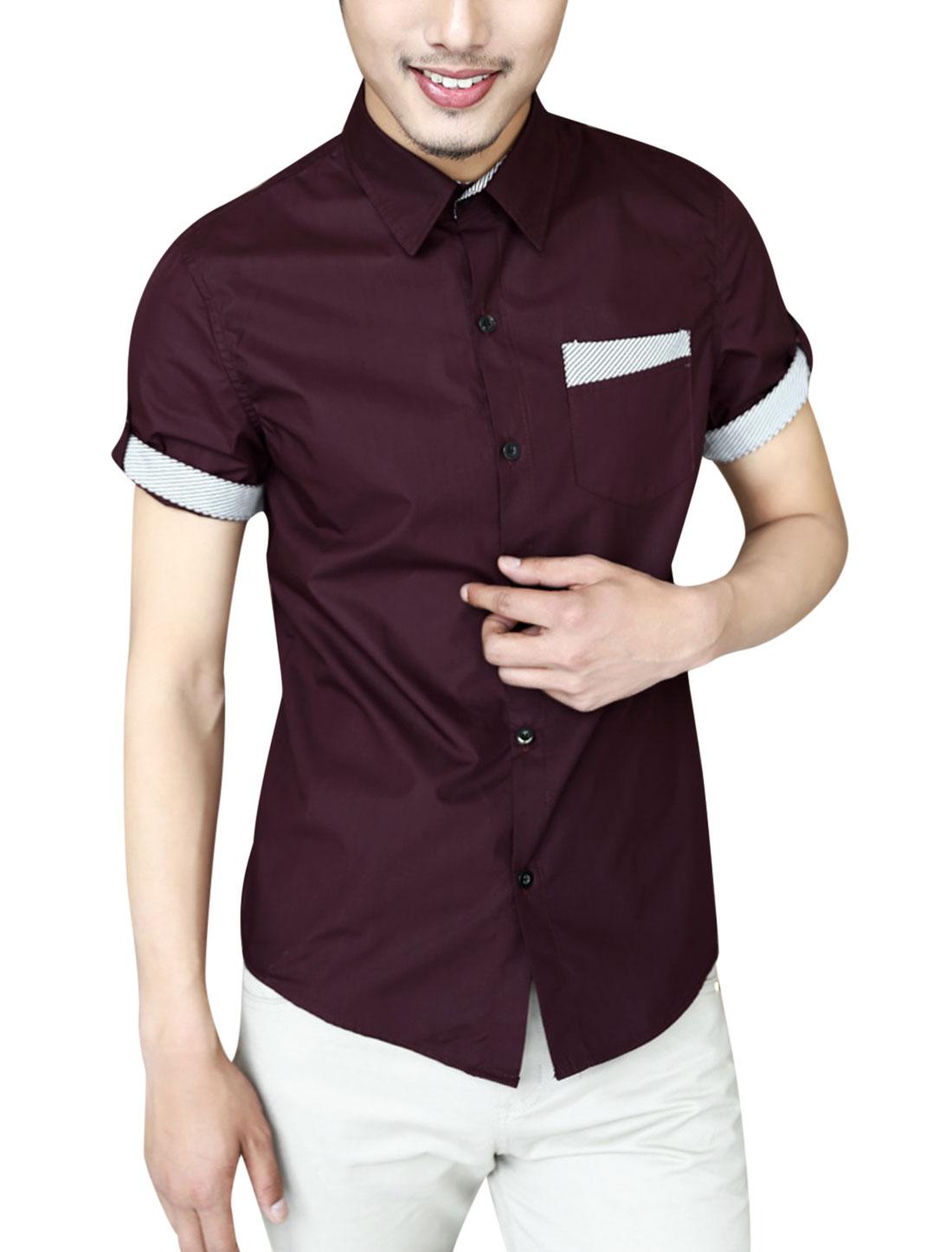 Men Summer Roll Up Cuffs Point Collar Casual Shirt Burgundy M