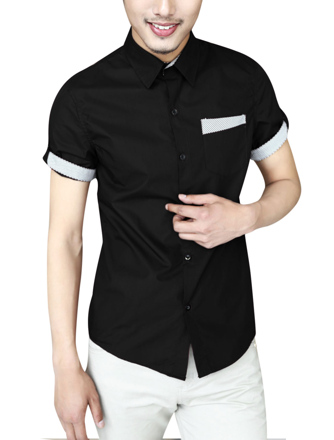 Men Summer Stripes Detail Chest Pocket Point Collar Top Shirt Black M