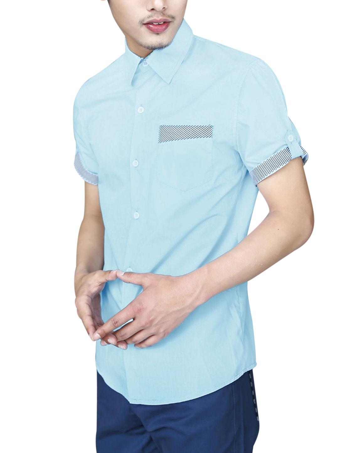 Men Summer Stripes Detail Panel Point Collar Top Shirt Baby Blue M