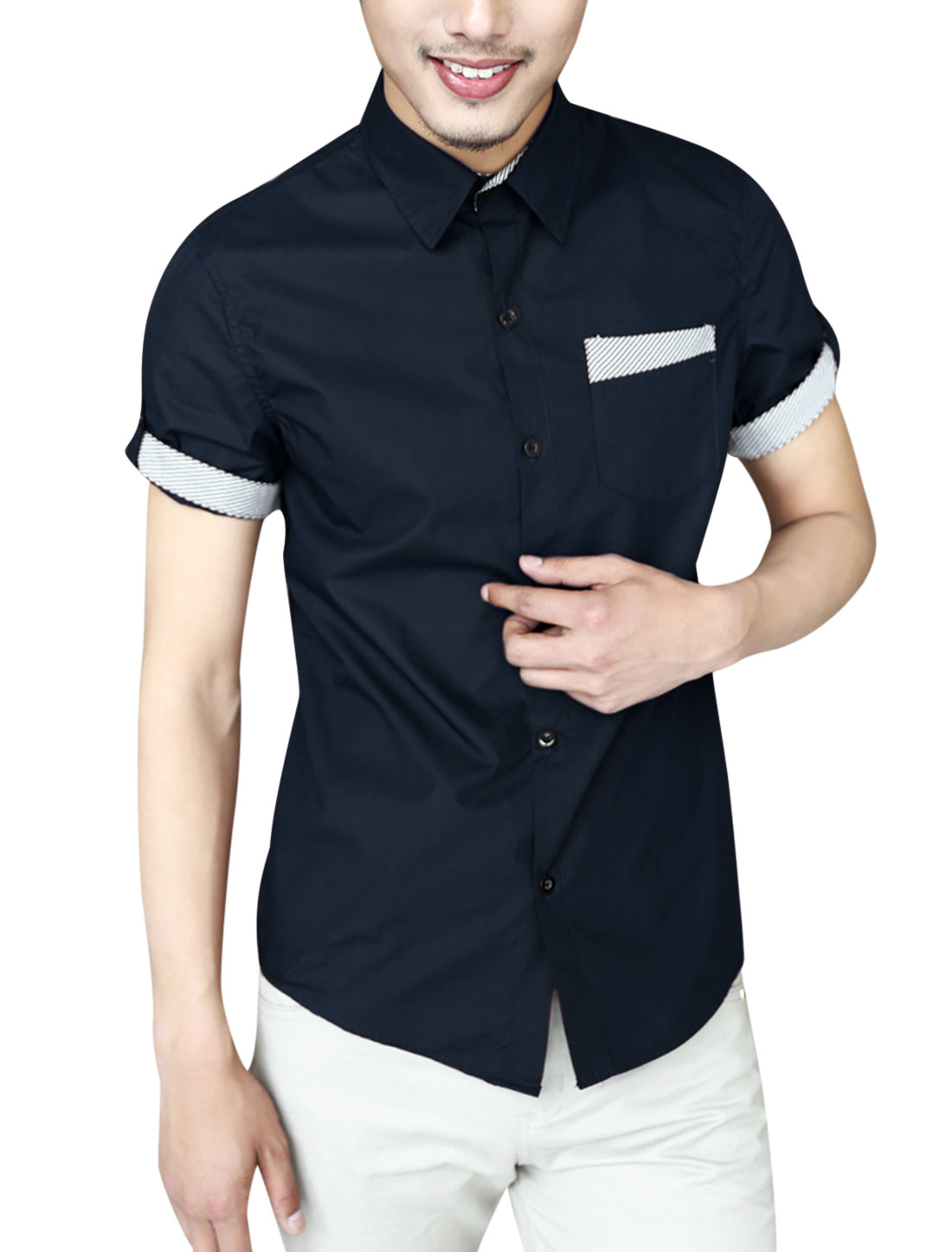 Men NEW Stripes Detail Round Hem Point Collar Fashion Shirt Navy Blue M