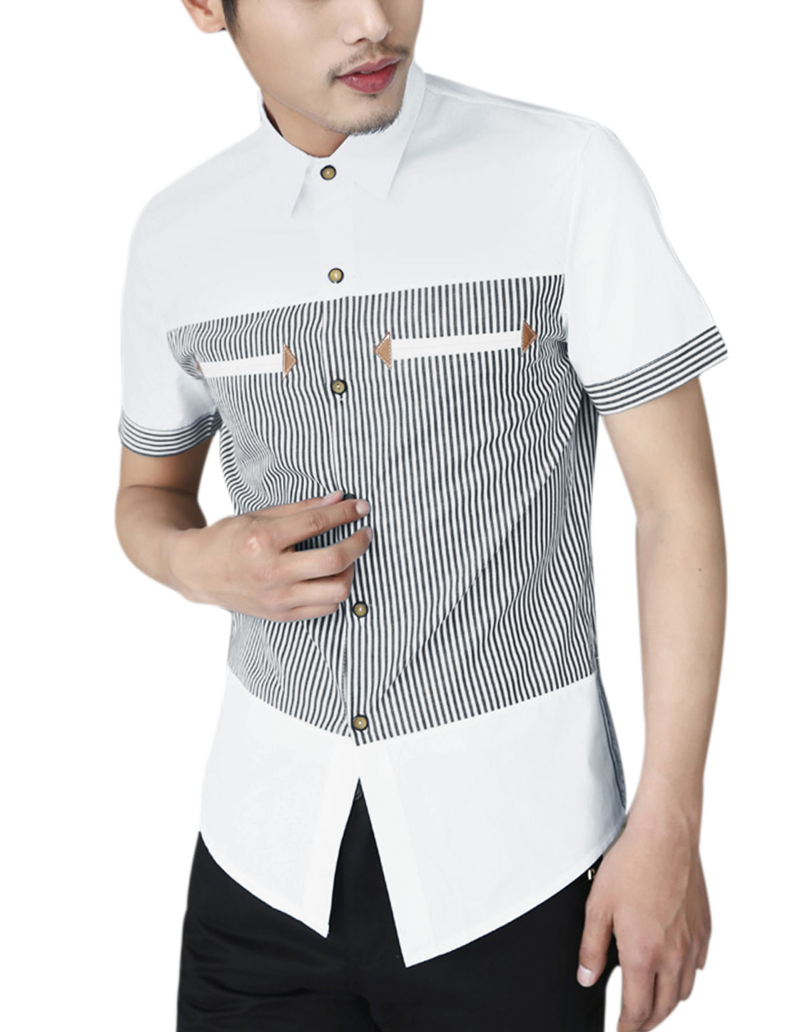 Men Short Sleeve Stripes Color Block Button Closure Front Casual Shirt White M
