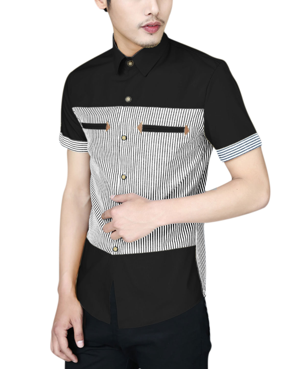 Men Short Sleeve Button Closure Front Spliced Stripes Casual Shirt Black M