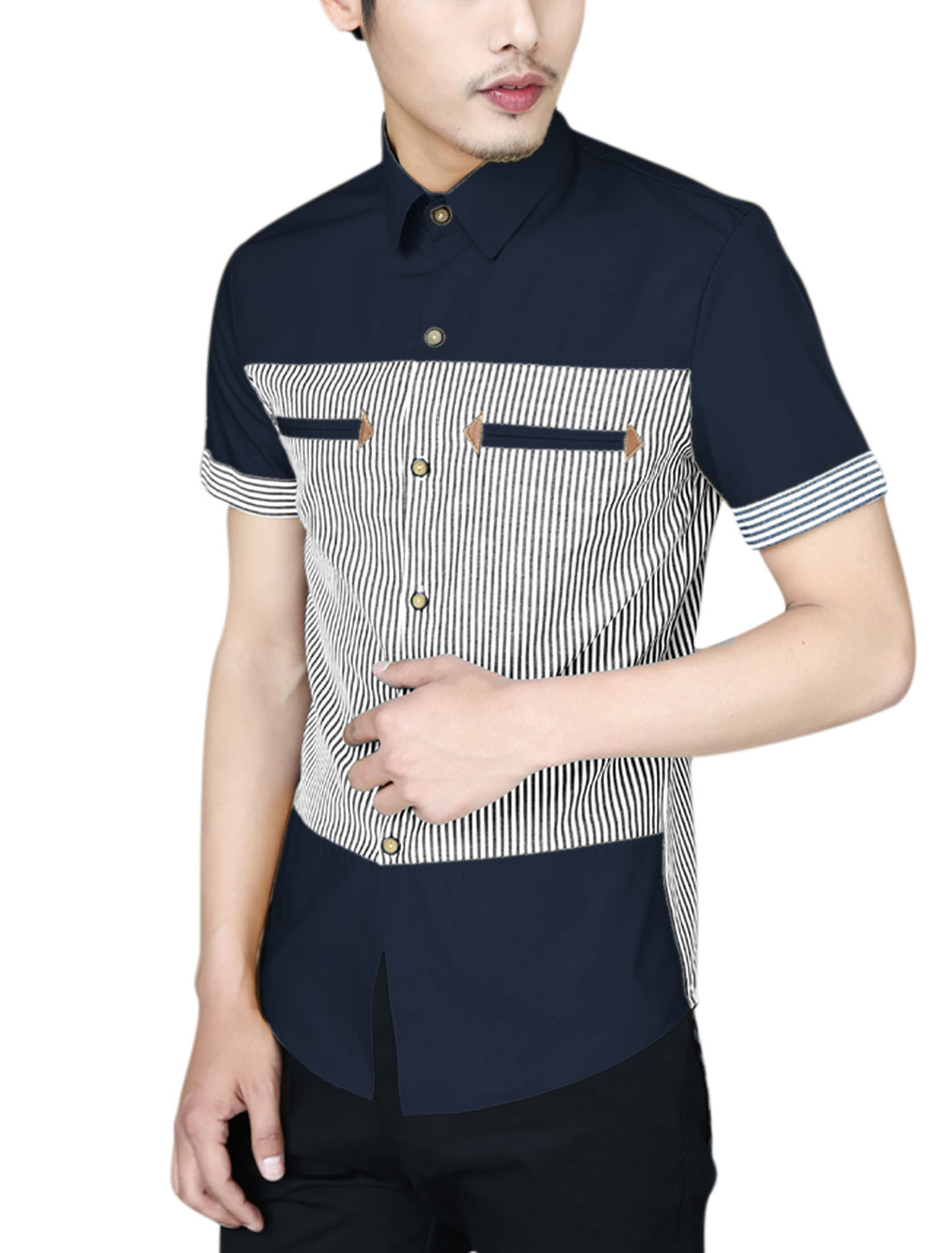Men Summer Fit Short Sleeve Bar Striped Contrast Color Casual Shirt Navy Blue M