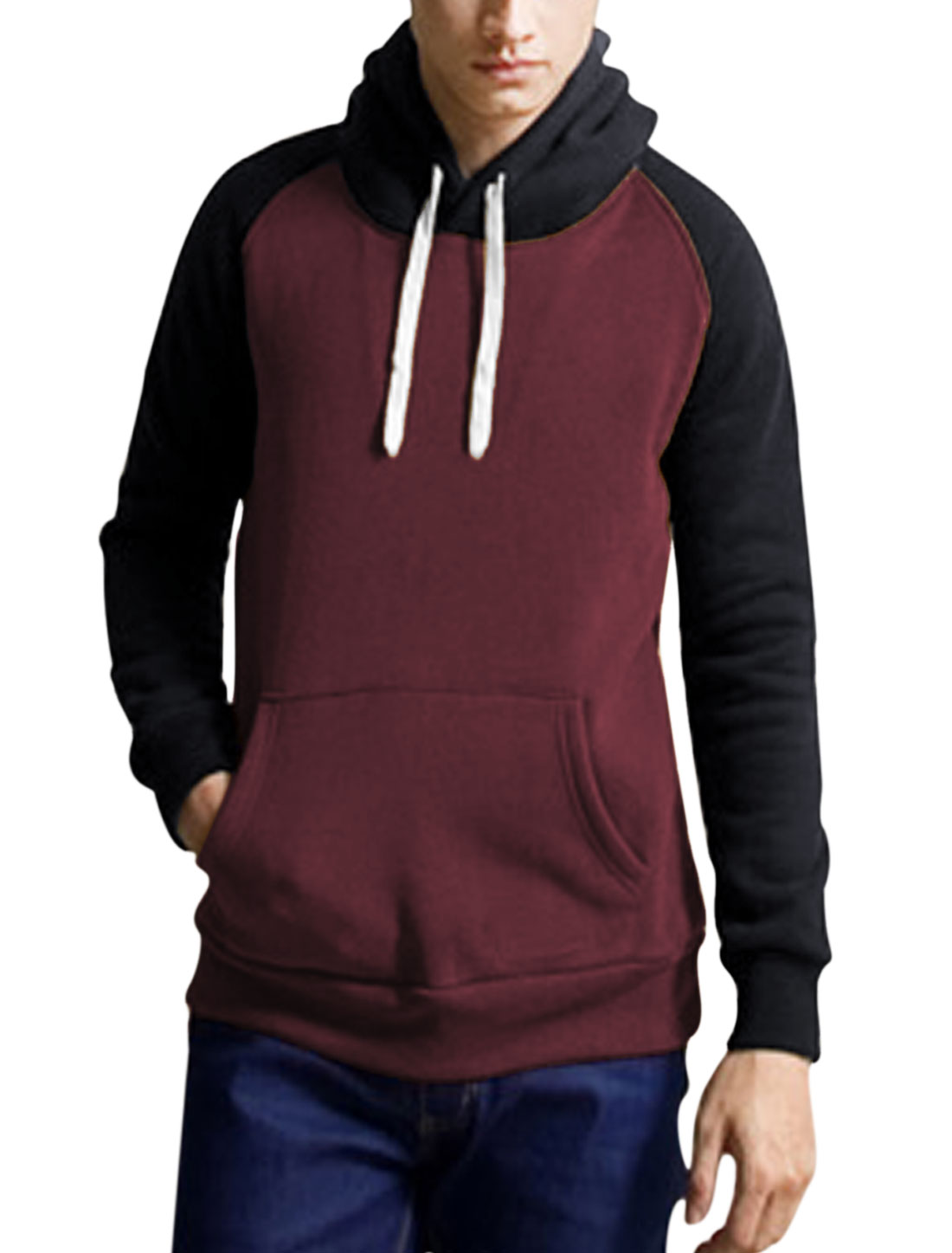 Men Drawcord One Kangaroo Pcoket Thick Hooded Sweatshirt Burgundy Navy Blue M