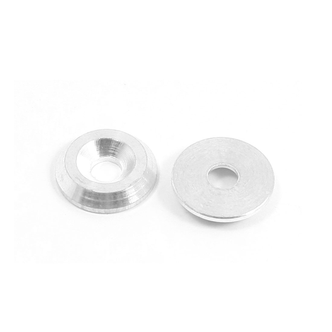 2Pcs Replacement Silver Tone Aluminium Alloy Countersink Washer Spacer Adaptor 4mm x 14mm x 3mm for RC Model Toy