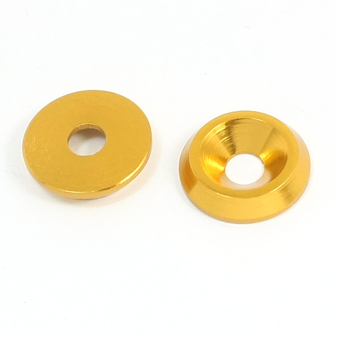 2Pcs 14mm Dia Gold Tone Aluminium Alloy Countersink RC Washer Spacer for 4mm Dia Shaft
