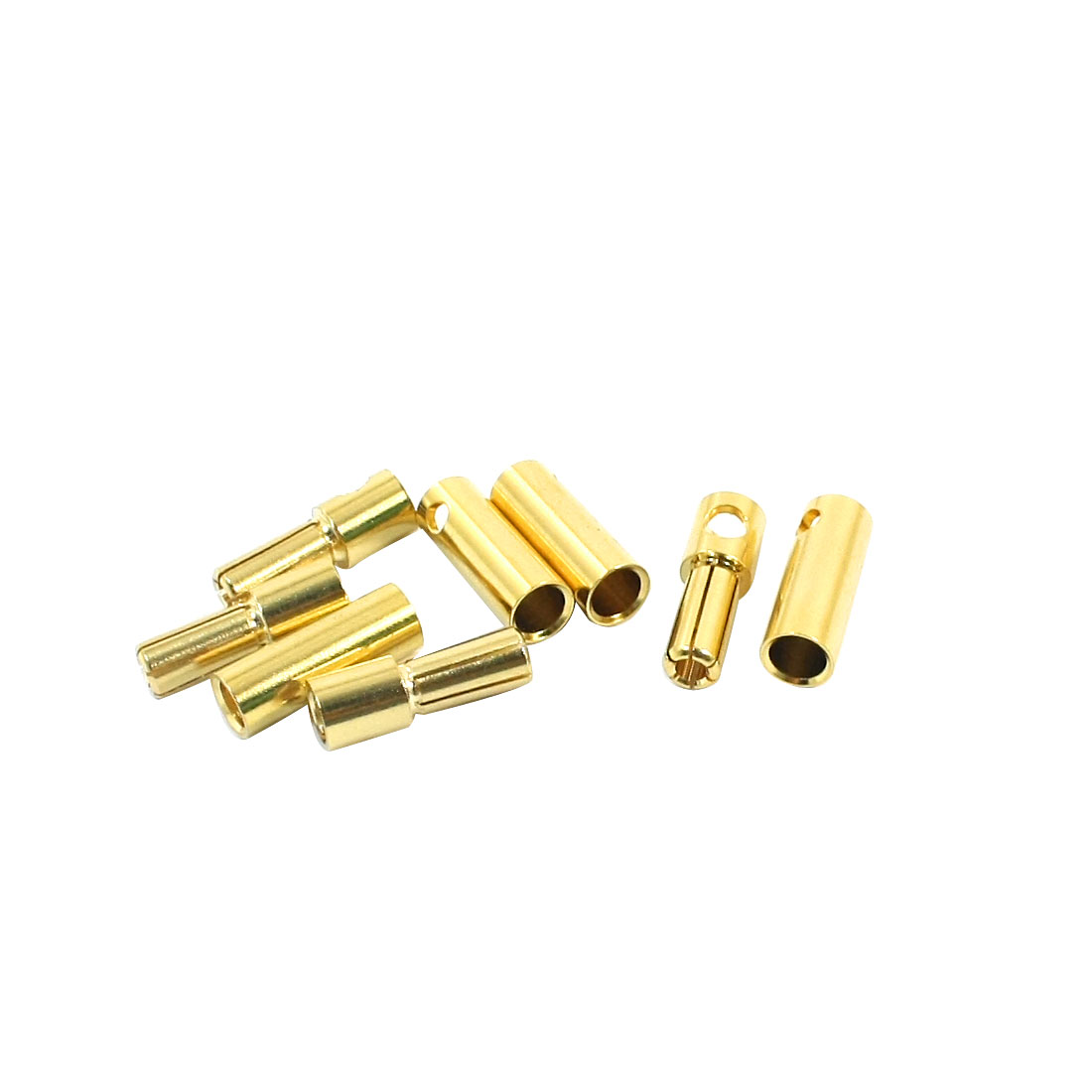RC Brushless Motor Li-Po Battery Gold Tone Metal Male Female Banana Connector Adapter 5mm Dia 4Pairs