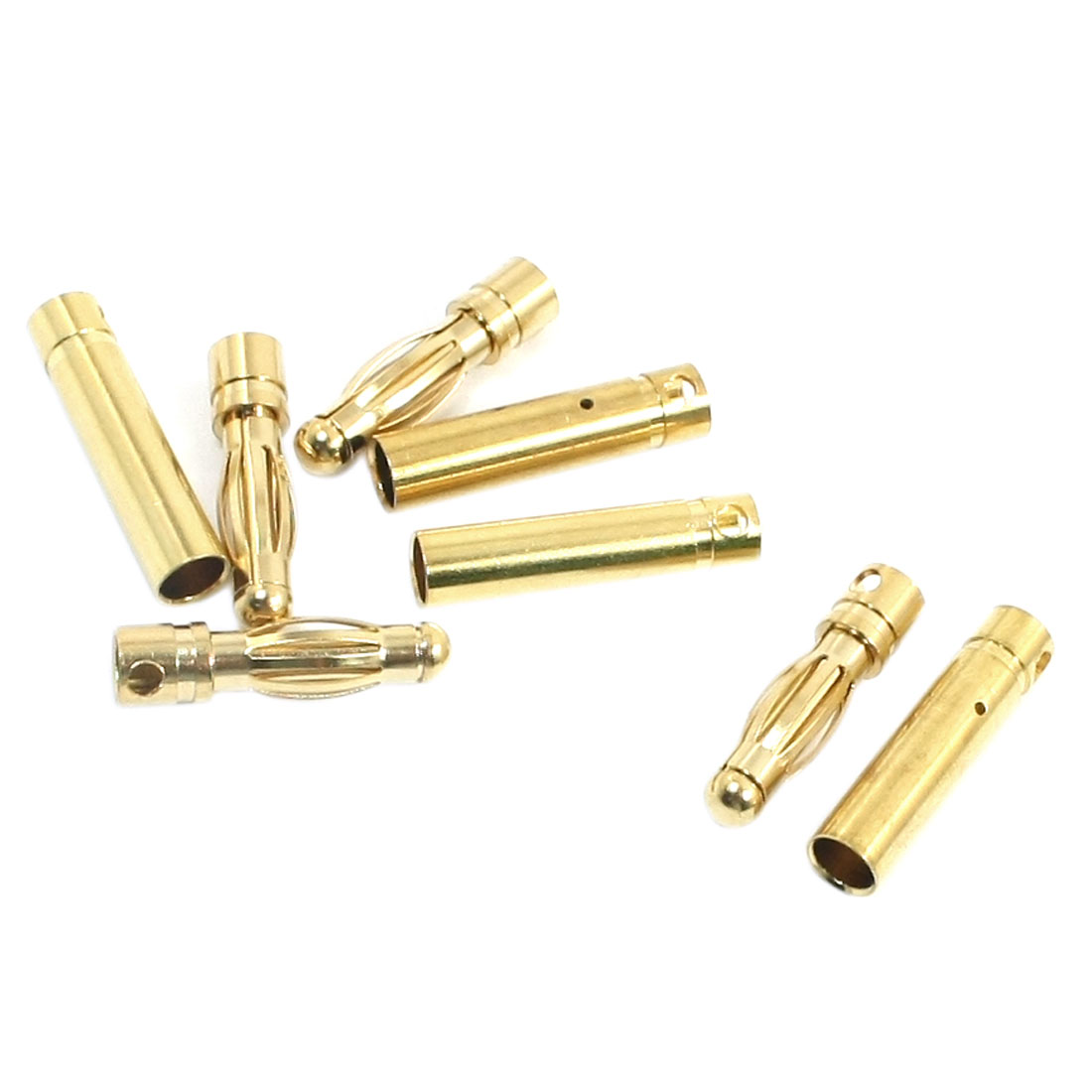 RC Model Brushless Motor Li-Po Battery Part Gold Tone Metal Male Female Banana Connector Adapter 4mm 4 Pair