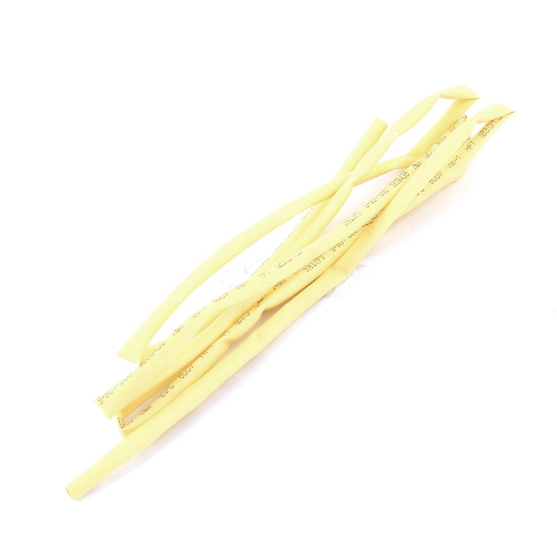 Shrink Ratio 1/2 3mm Yellow Insulated Heat Shrink Tube Shrinkable Tubing Pipe 600V 125C 1m 3.3ft Long
