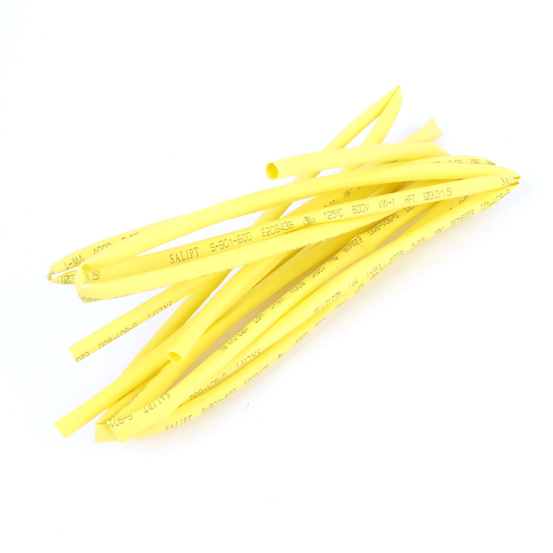 2pcs 600V Ratio 2:1 3mm Dia Heat Shrinkable Tube 3.3ft 1m Yellow