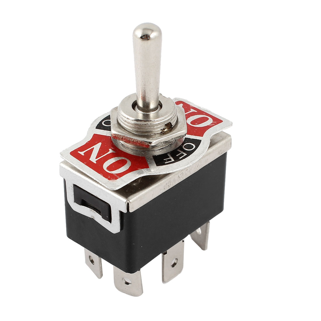 Vehicle Black 6 Pin 3 Position On/Off/On Momentary DPDT Toggle Switch 125V 15A