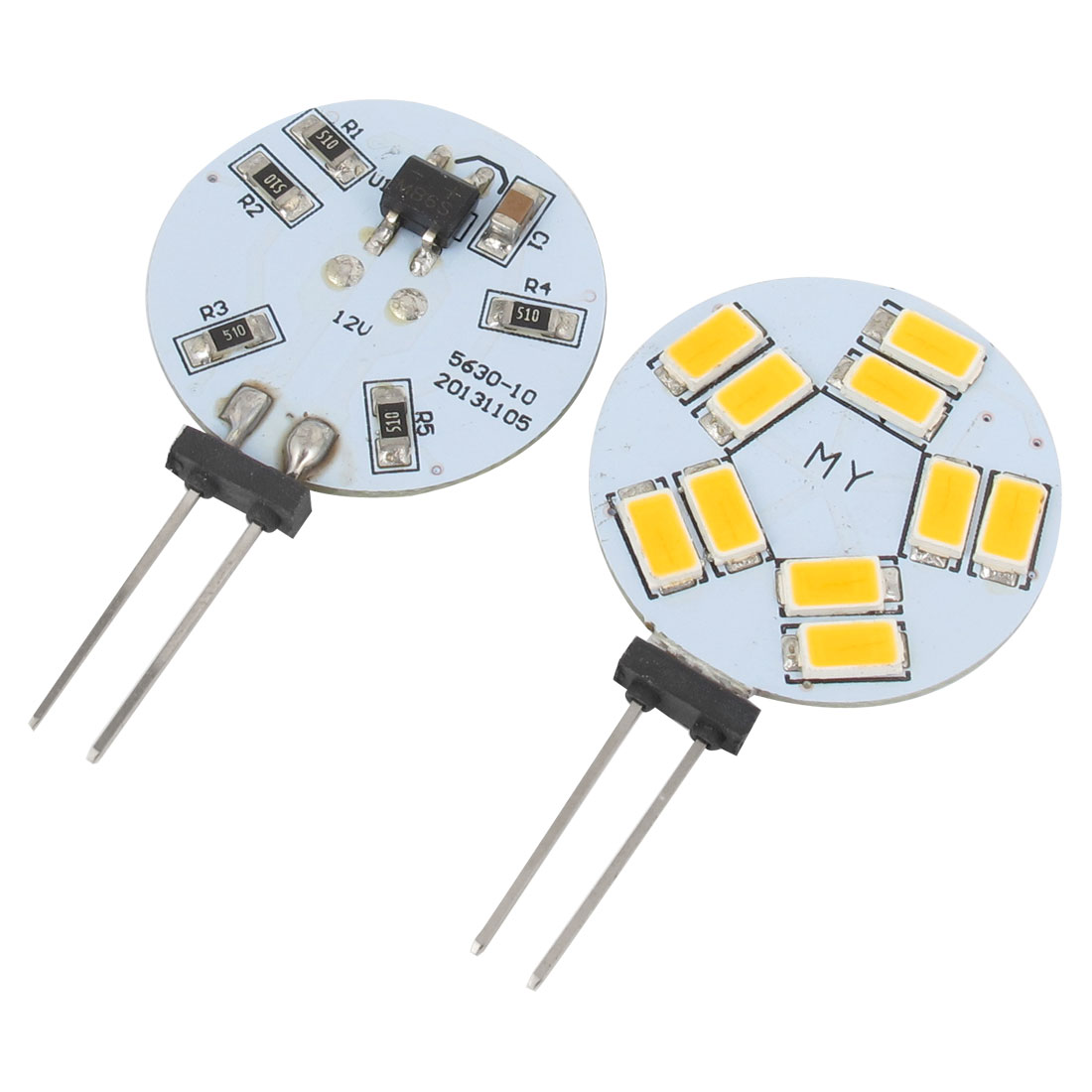 2 Pcs Side Pin G4 Warm White 5630 SMD 10-LED Bulb Dashboard Light for Car Internal