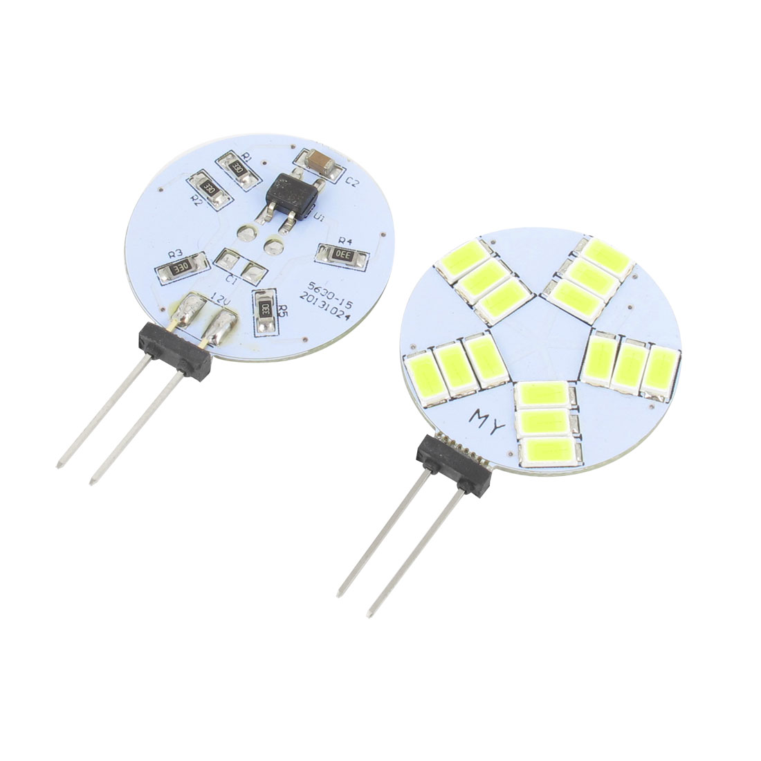 2 Pcs Vehicles White 15 SMD LEDs 5630 G4 Side Pin Lamp Light Internal