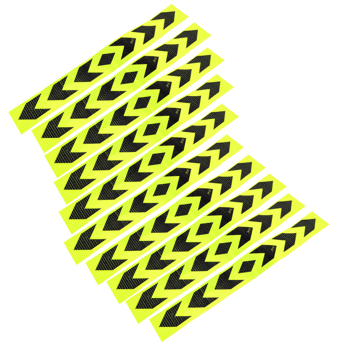 10 Pcs Reflective Arrow Pattern Sticker Yellow Black 40cm Long for Car