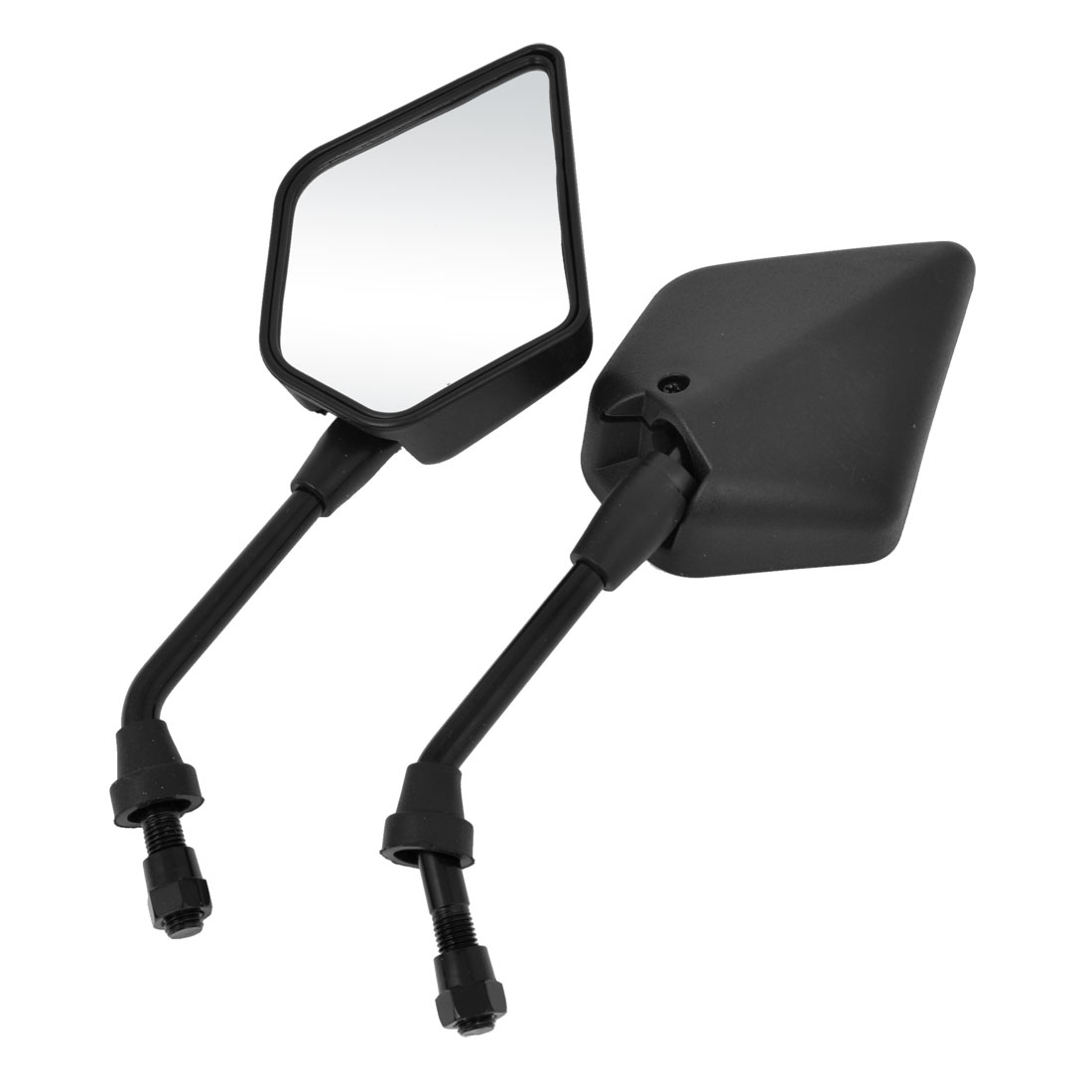 Pair Black Shell Maple Leaf Shaped Motorcycle Adjustable Angle Side Rearview Blind Spot Mirrors