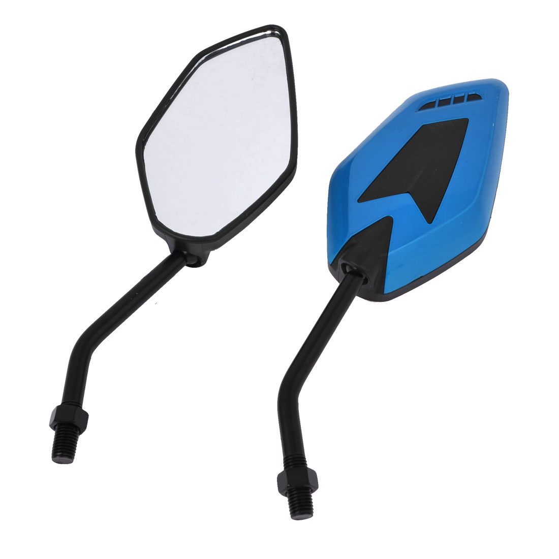 Pair Blue Black Plastic Shell Adjustable Side Motorcycle Rearview Blind Spot Mirrors