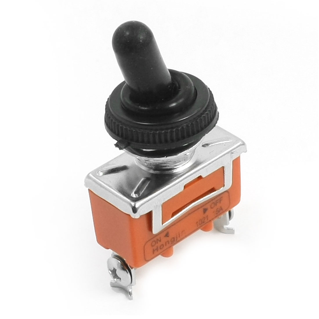 AC250V 15A 12mm Dia Thread SPST 2 Screw Terminal ON/OFF Waterproof Cover Toggle Switch