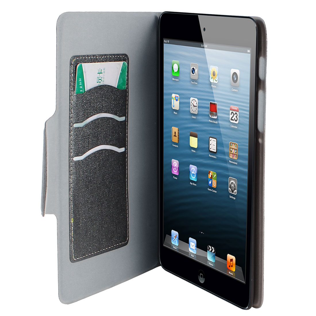 "Gray PU Leather Folio Protective Tablet Case Cover Stand 8"" for iPad Mini"