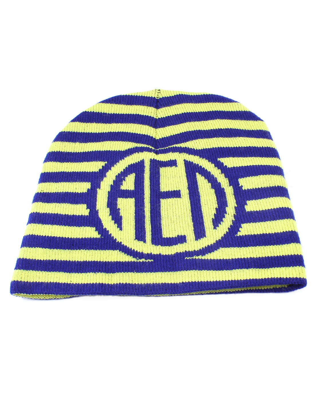 Unisex Blue Yellow Stripes Pattern Stretchy Hand Knit Warm Beanie Winter Hat Cap
