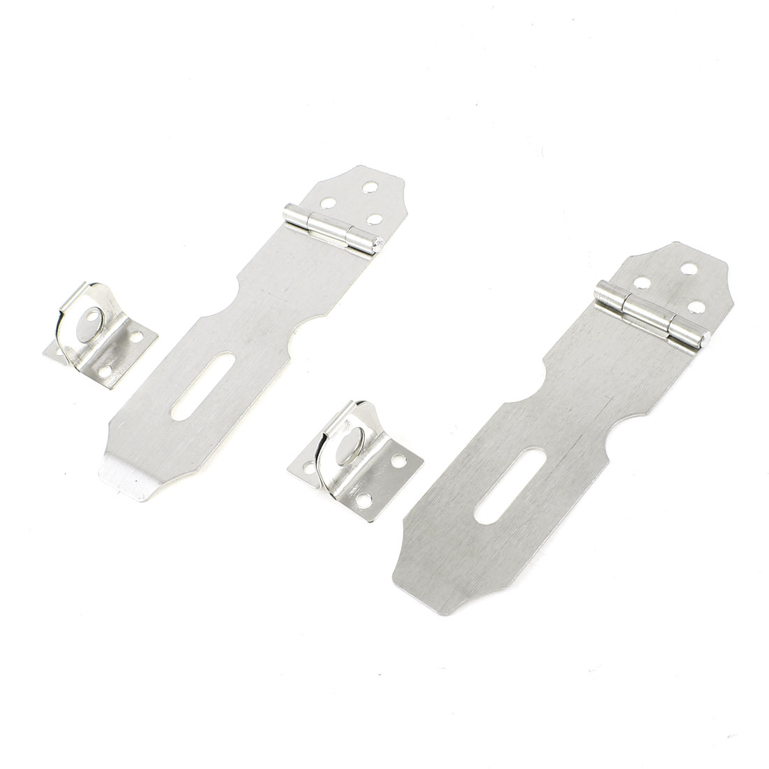 "2 Pcs Cabinet Drawer Door Padlock 3.3"" Long Stainless Steel Hasp Staple Set"