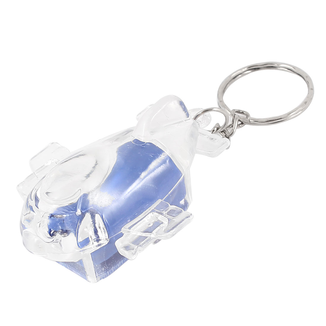 Plastic Shell Red Blue Light Aircraft Dangling Split Ring Keychain Key Ring