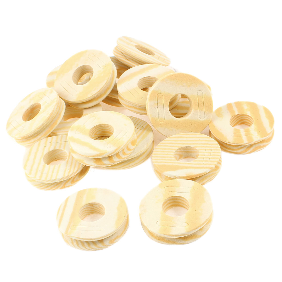 16 Pcs Stripes Printed Fishing Line Foam Spool Khaki Beige