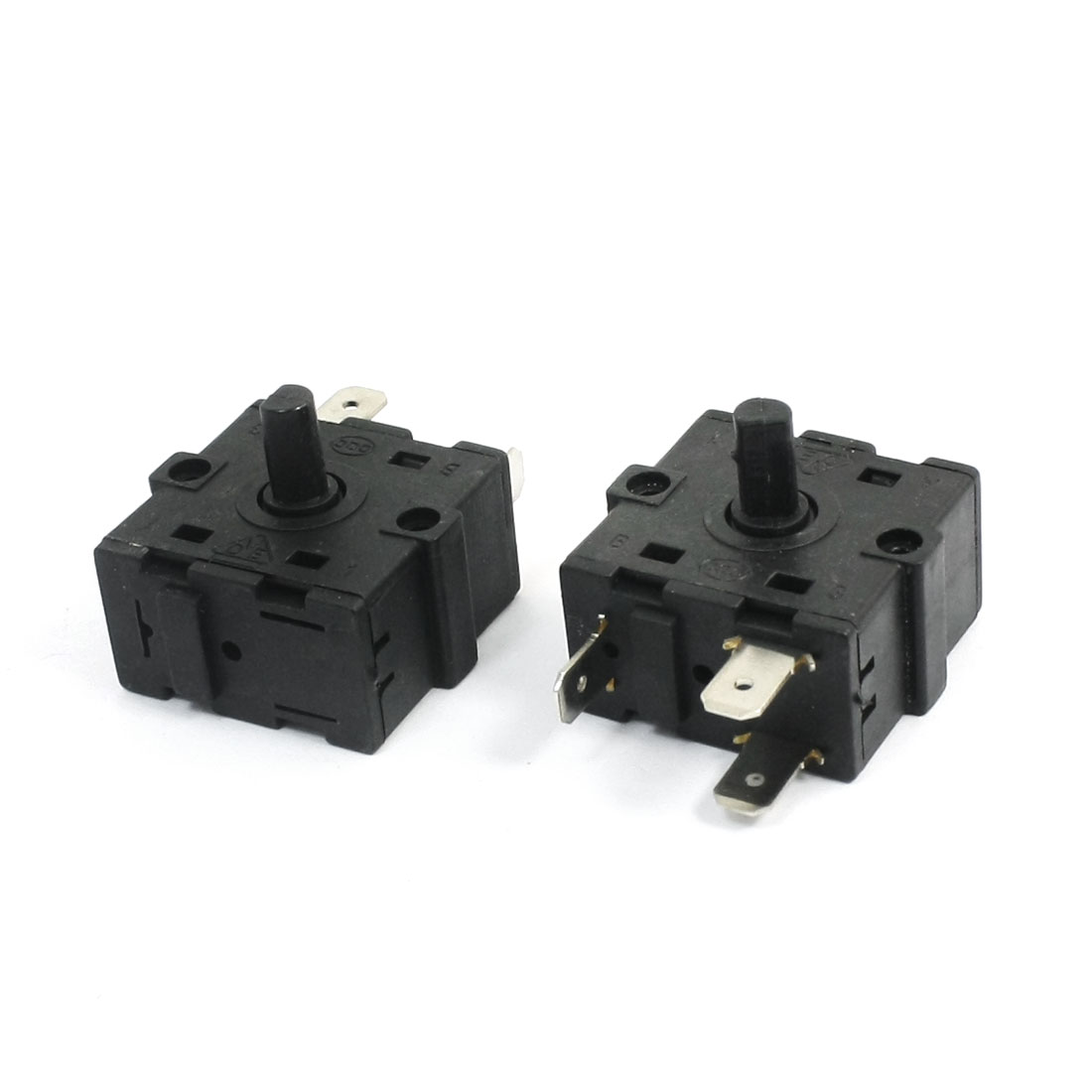 2Pcs AC250V 10A 3Pin 3Position Black Plastic Rotary Switch Selector for Electric Room Heater Oven Stove