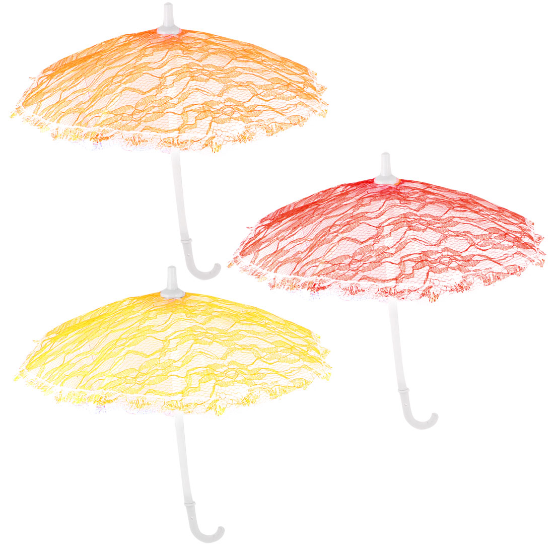 House Decor 8 Plastic Ribs Multi Color Lace Mini Umbrella 3 Pcs