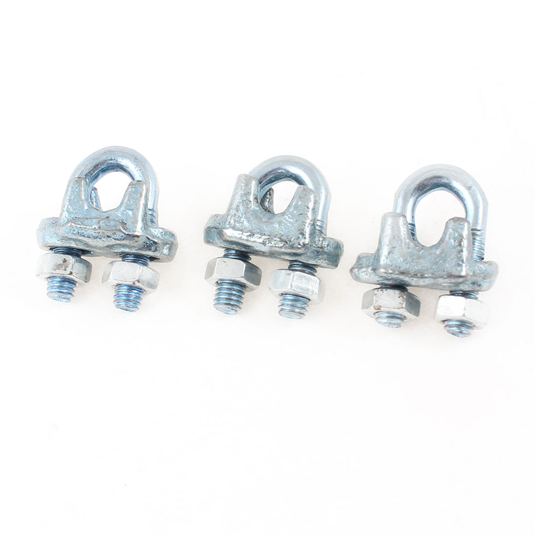 "3 Pcs Metal Wire Rope Cable Clips Clamps 1/5"" Silver Tone"