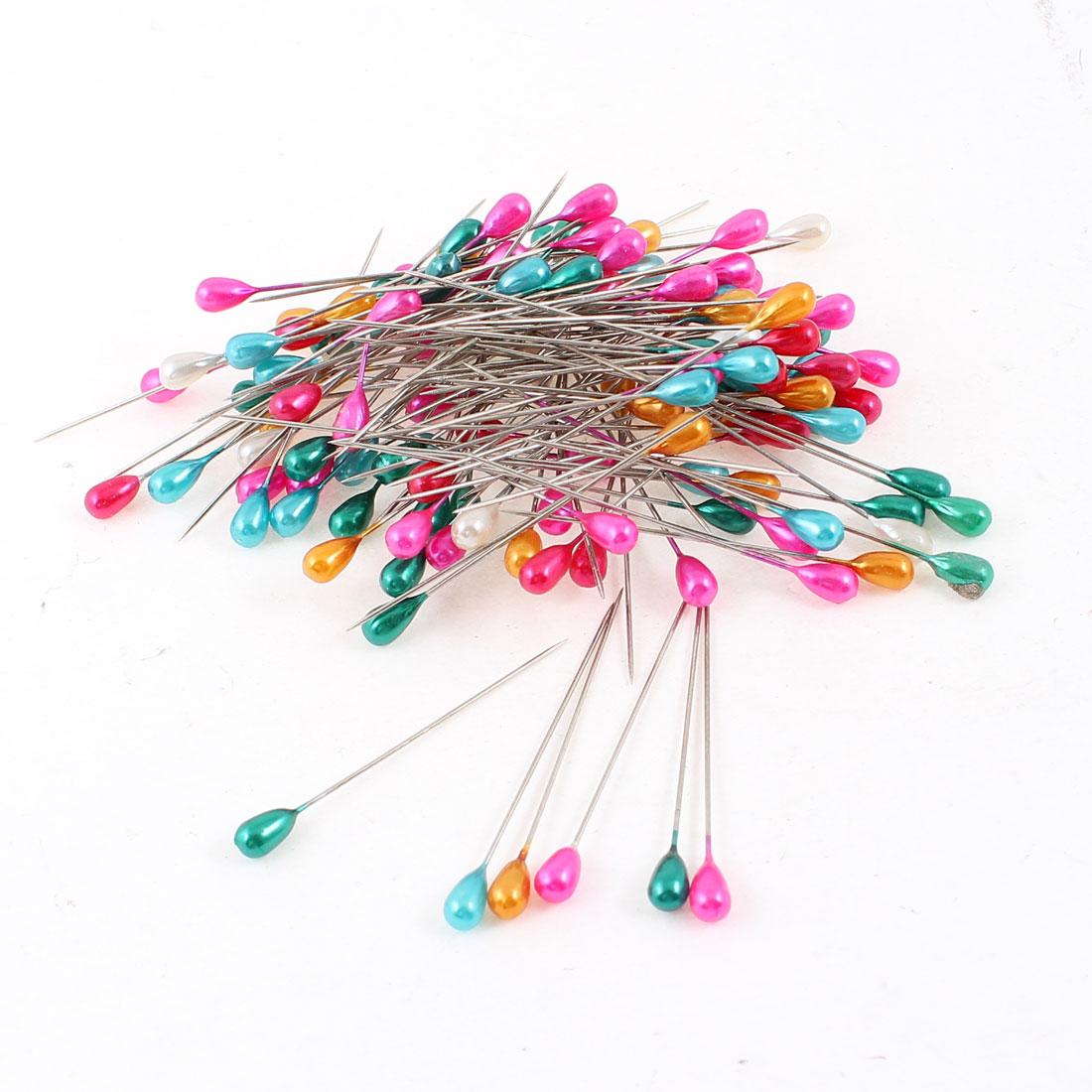 150 Pcs Multicolor Plastic Oval Head Metal Pins Ornament