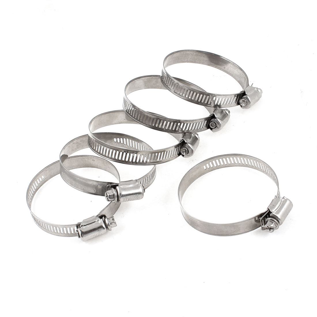 6pcs Adjustable 44-67mm Worm Drive Hose Clamps Clips Silver Tone