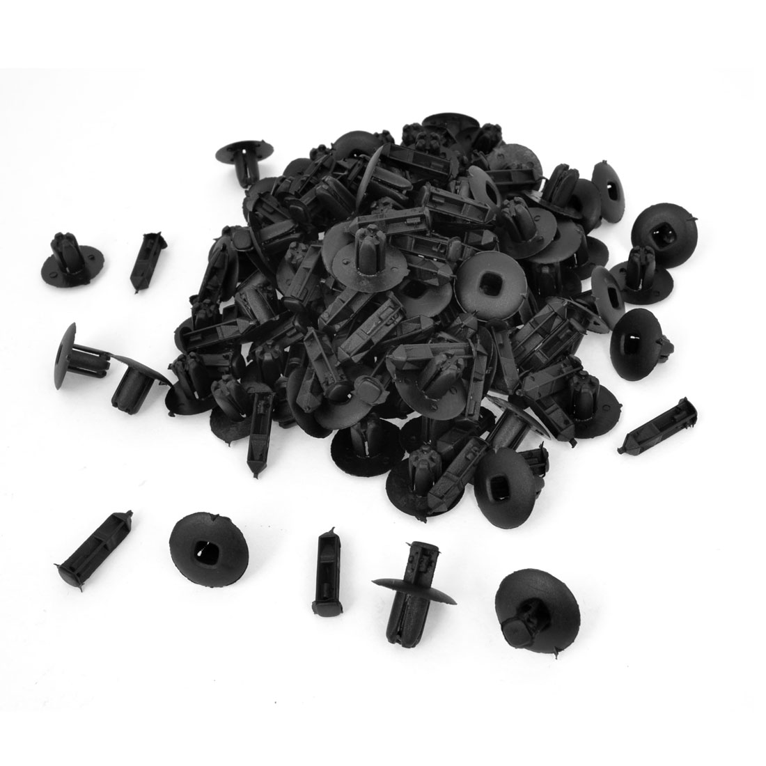 100 Pcs Vehicle Black Push in Type Rivet Plastic Fastener 8mm Hole
