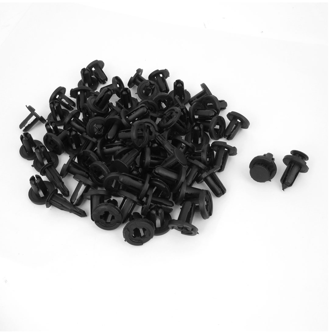 100 Pcs 10mm Dia Black Plastic Rivet Bumper Grills Fastener Clip for Toyota