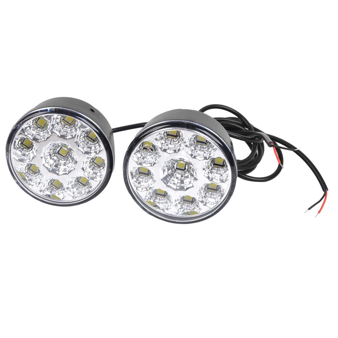 Pair Round Shape 9 LED White Car DRL Daytime Running Light Lamp 12V