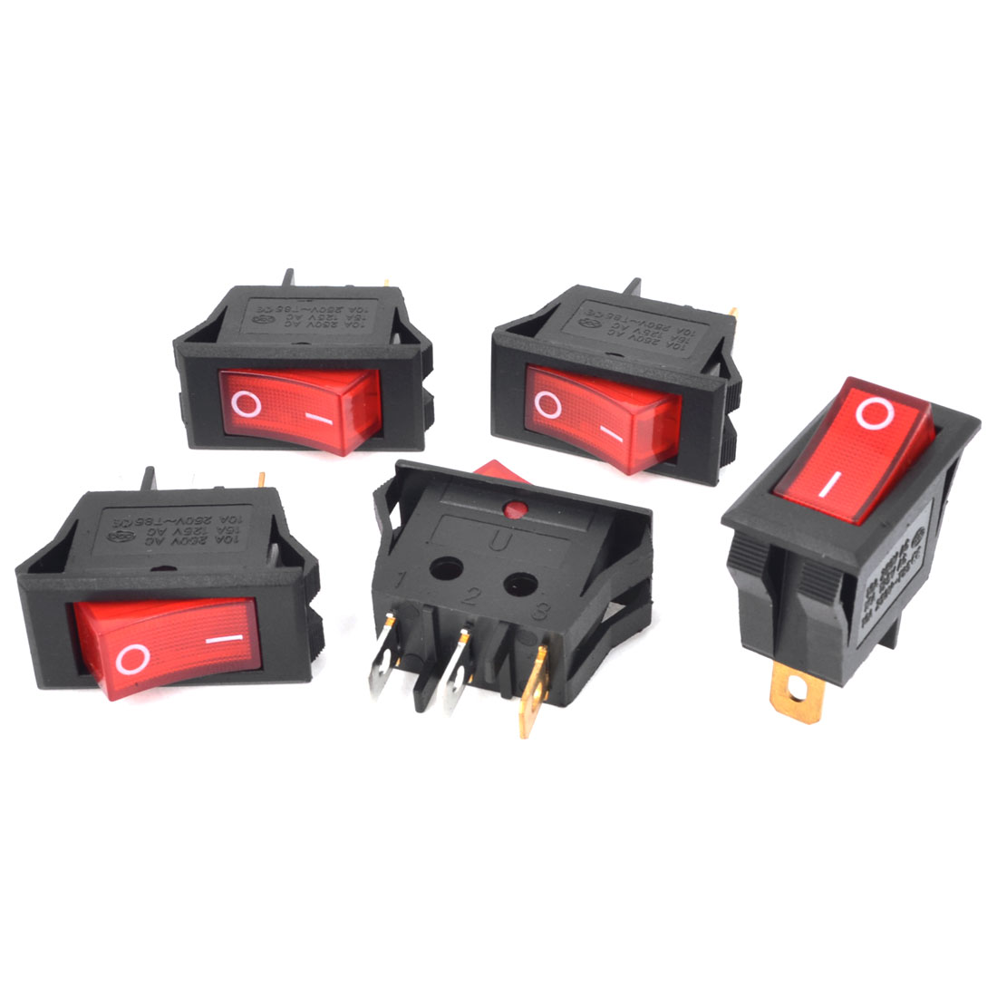 5Pcs AC250V 10A AC125V 15A Panel Mount Red Lamp Latching Rocker Switches