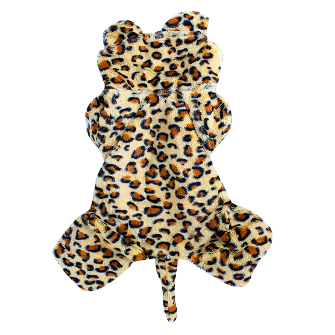 Winter Single Breasted Leopard Pattern Pet Dog Puppy Sleeved Hooded Apparel Coat Clothes S