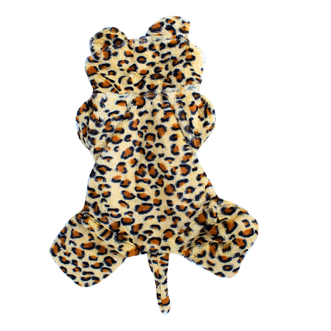 Winter Single Breasted Leopard Pattern Pet Dog Puppy Sleeved Hooded Apparel Coat Clothes L