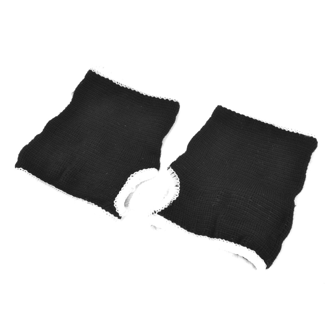2 Pcs Thumbhole Design Black Knitted Palm Wrist Support Protectors
