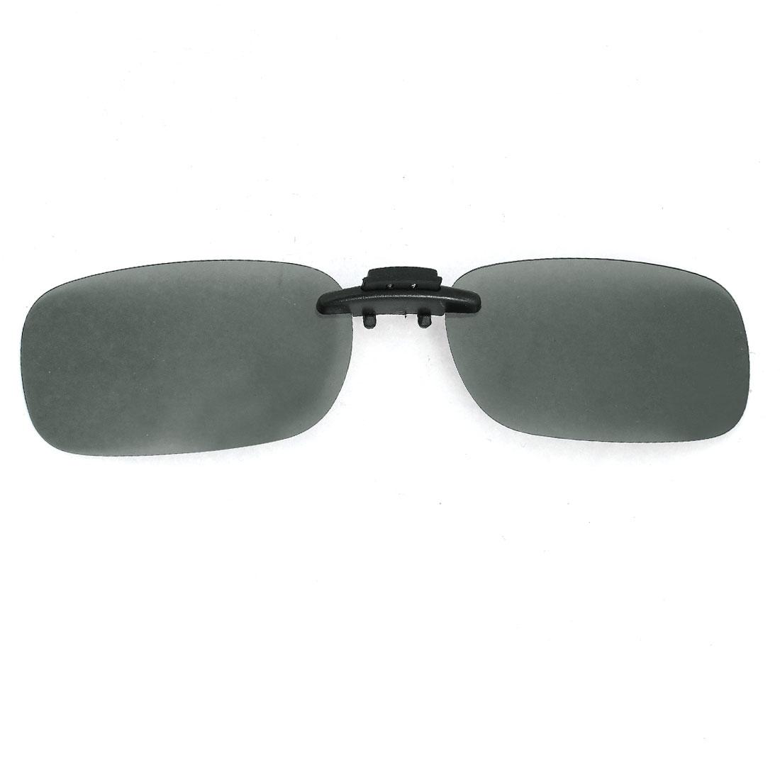 Polarized Plastic Rimless Dark Gray Lens Clip on Sunglasses Glasses